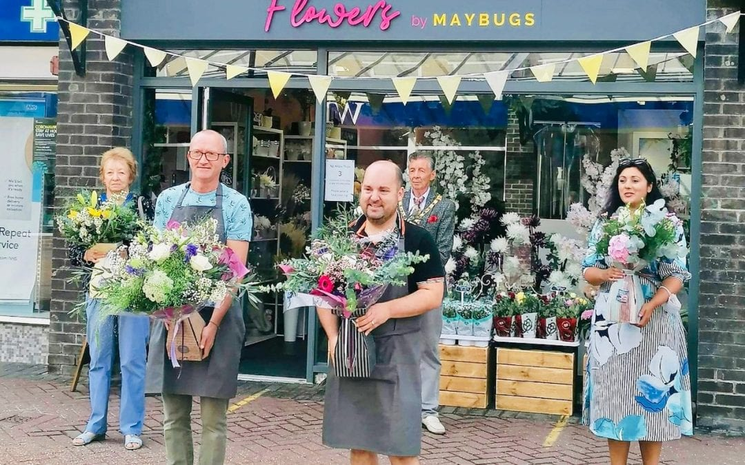 Opening morning of Flowers by Maybugs with Mayor