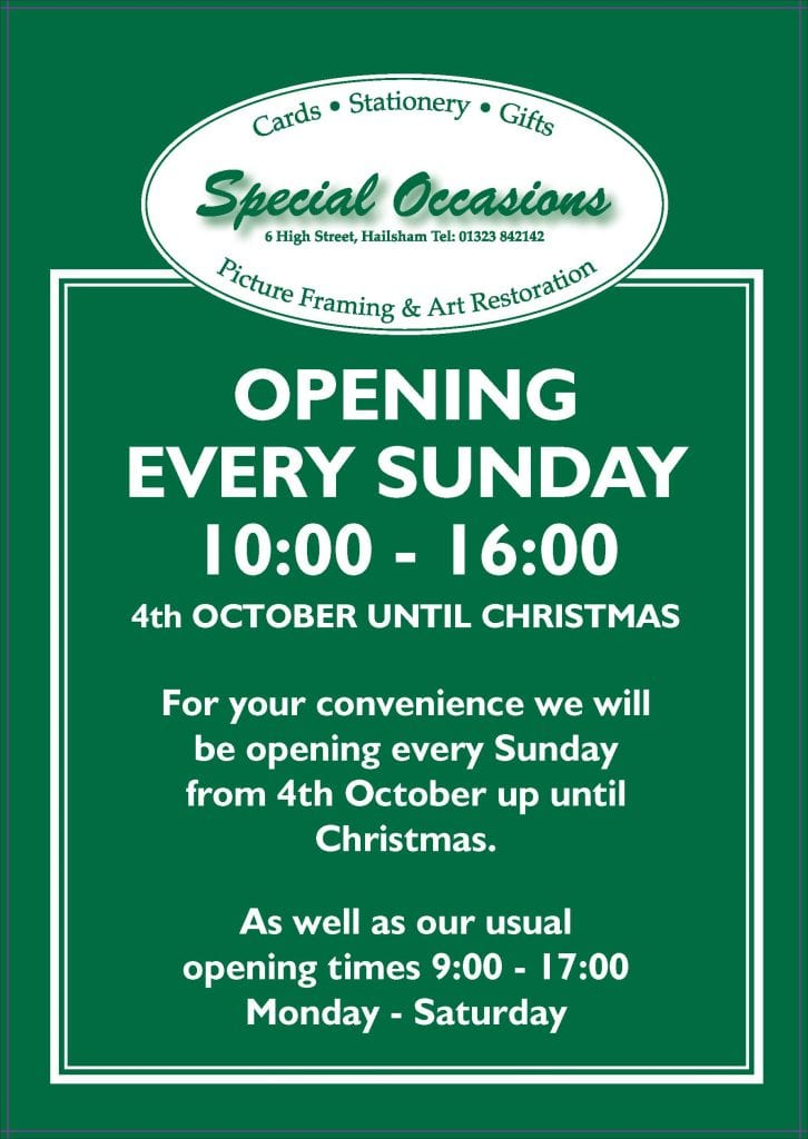 Special Occasions new hours